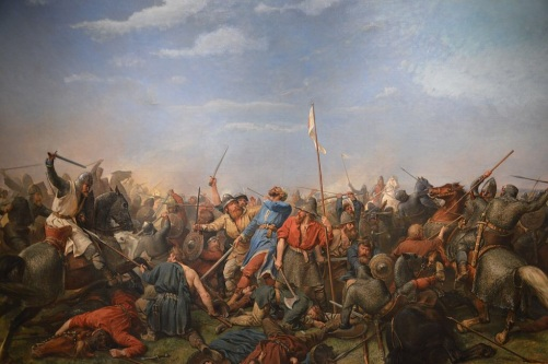 Painting of the Battle of Stamford Bridge by Peter Nicolai Arbo, depicting King Harald Hardrada hit in the neck by an arrow