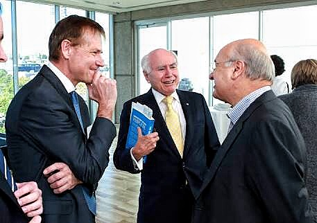 Nick Cater and John Howard at the launch of 'The Lucky Culture'